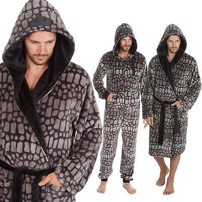 Mens Luxury Dinosaur  Reptile Skin Soft Fleece Dressing Gown  Robe -Onesee M-XXL