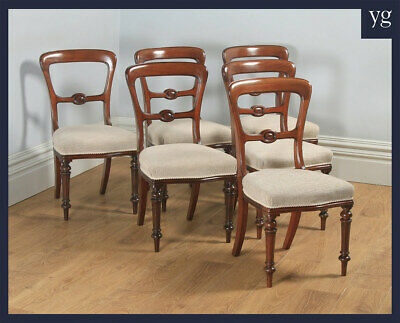 Antique English 19 Century Victorian Set 6 Six Walnut Balloon Back Dining Chairs