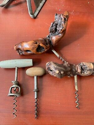 lot of 4 Antique Wine Beer Bottle Cork Screw Openers Wooden Handle Corkscrew-#51