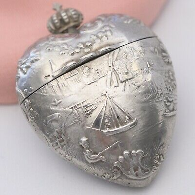 Antique Victorian Sacred Heart Puffy Sterling Silver Pill Box Locket Pendant
