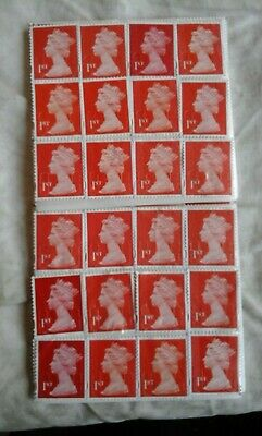 1st class red security stamps x 20 unfranked with gum OFF paper