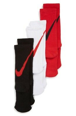Nike Kids 3-Pack Black White Red Graphic Cotton Cushion Socks Size Medium
