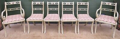 Set of 6 Painted Dining Chairs, Antique Classical Style, inc. 2 Carver Chairs