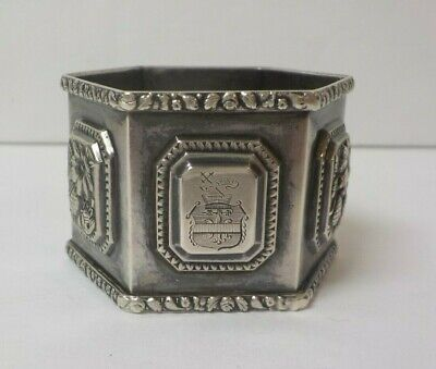 Antique French Sterling Silver Napkin Ring with Armorial, 25 grams