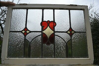 Frame 877 x 614mm. Leaded light stained glass window sash above door size. R829