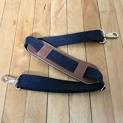 LL Bean Replacement Black Strap Brown Leather Trim Luggage Duffle Messenger Bag