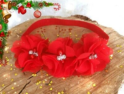 Christmas Xmas Baby Girl Headband Hairband Red Chiffon Flowers Rhinestone Pearls
