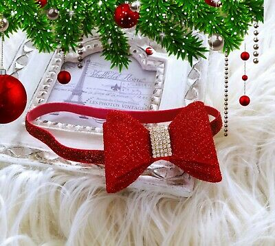 Christmas Xmas Baby Girl Headband Hairband Red Glitter Bow Glitter Headband