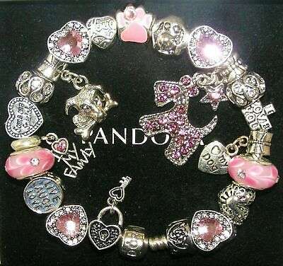 Authentic Pandora Silver Bracelet with DOG MY DOG, DOG LOVER European Charms
