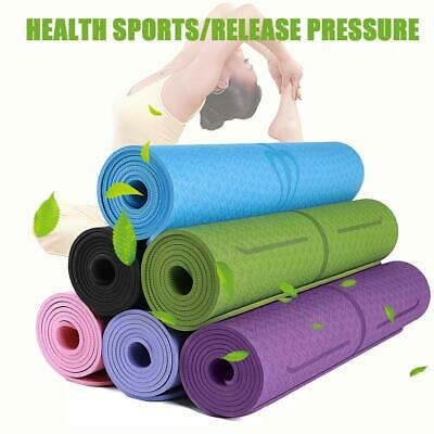 TPE Fitness Yoga Mat Tasteless Anti-slip Sports Gym Carpet Pads w/Position Line