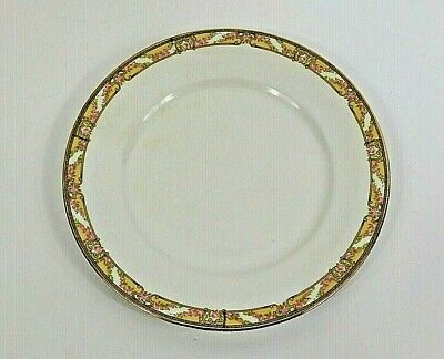 Antique 1920 Homer Laughlin Empress China Plate, Gold Trim with Floral Border