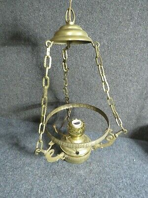 Antique  Victorian  Dolphin  style Brass Lamp fixture 1800's era