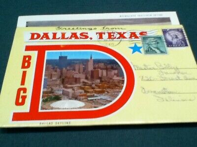 Folding Post Card(1960) Dallas 14 Different pictures.Including Parkland Hospital