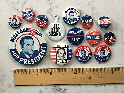 Group Lot George Wallace Third Party 1968 Political Campaign Pinback Button Pins