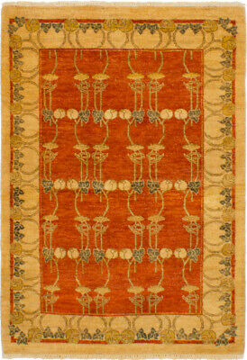 """Hand-knotted  4'1"""" x 5'10"""" Chobi Twisted Bordered, Traditional Wool Rug"""