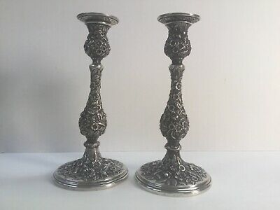"""Pair Antique Kirk & Son Repousse Sterling 10"""" Candlesticks"""