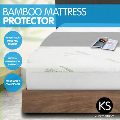 New Luxury Bamboo Comfortable Fully Fitted Bed Mattress Protector - King Single