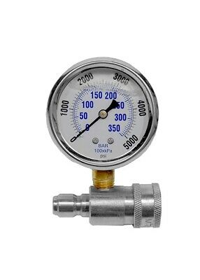 Stainless Steel Pressure Washer Pressure Gauge 6000PSI//40MPa 3//8in Fitting