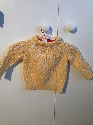 Homemade Cosy Yellow Winter Knitted Jumper.sweater.yellow,white.hand Knit.age2/3