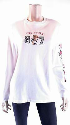 Limited Too Girl Power Girls size XL Cotton Shirt White Graphic Long Sleeve Kids