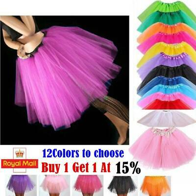 High Quality Ladies Girls Kids Tutu Skirt Fancy Skirt Dress Up Party 3 Layers ~