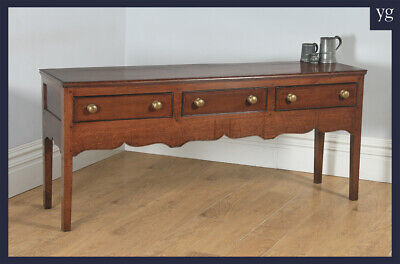 Antique English 19th Century Georgian Oak Shropshire Low Dresser Base Sideboard