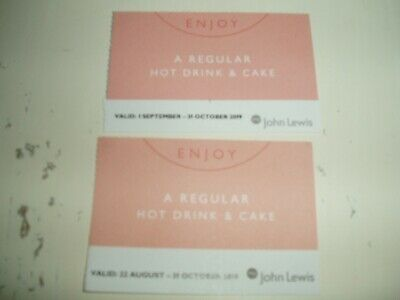 John lewis hot drink and cake voucher x2 expires 31st october worth about £12 !2