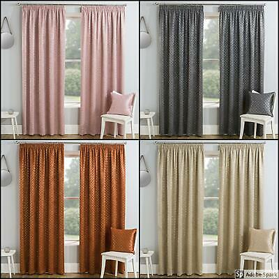 THICK Thermal BLOCKOUT Pencil Pleat LINED CURTAINS Ready Made TAPE TOP Metallic