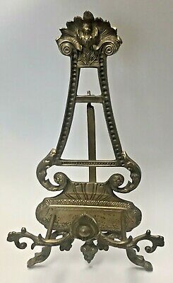 Ornate Antique Solid Brass Rocco Style Easel Painting Book Holder Stand 18""