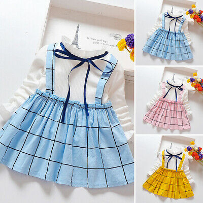 Cute Toddlers Kids Baby Girl Plaid Tops Suspender Skirt Dress Outfit Clothes
