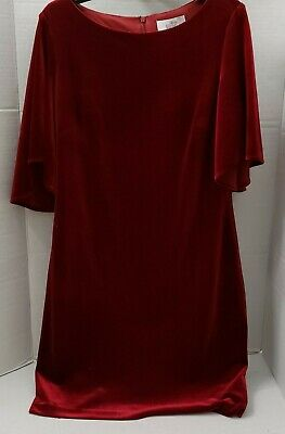 New Belle Badgley Mischka Cranberry Red Velvet Velour Womens Dress modelle 14