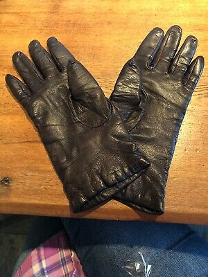Nordstrom Made in Hungary Cashmere Lined Ladies Brown Soft Leather Gloves Sz 6.5