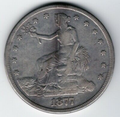 1877 Trade Dollar. Semi-Key Date, Low Mintage, %90 Silver, Very Rare #C442