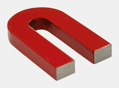 """Red Cast Alnico 5 HorseshoeMagnetWithKeeper,1.133/""""Wide,1/""""High,0.318/""""Thick Pkof1"""