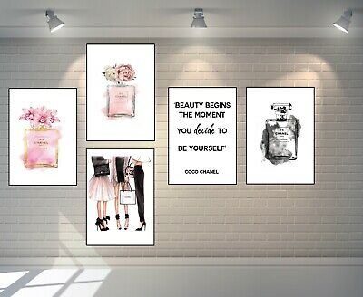 Set Of 5 Coco Chanel Art Perfume Bottle A4 Prints + Quote + Chanel Ladies Print