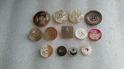 13 Large Mother Of Pearl Buttons-Good To Fair Condition-Etched And Plain