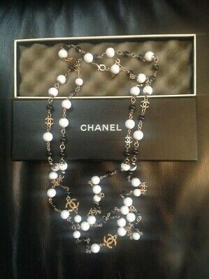 Authentic CHANEL Long Necklace Faux Pearl Gold  8 CC Logo Matrasse