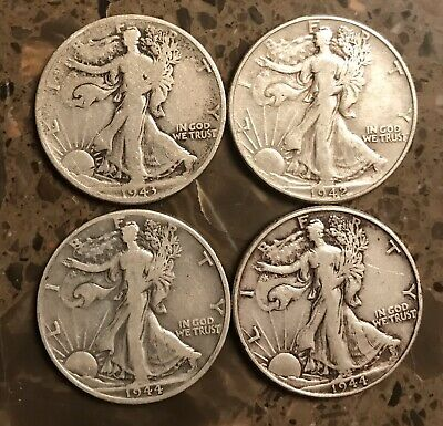 Lot of (4) Walking Liberty Half Dollar 90% Silver 1942 1943 1944 1944-D Coins