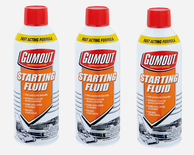 3pk~Gumout STARTING FLUID 11 oz. Gasoline Engines Lubricates Fast Acting 5072866