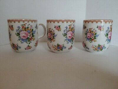 Royal Albert Lady Carlyle Lot set Of 3 Coffee Mugs Cups Tea