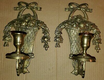 2 Brass Wall Mount Hanging Sconces Candle Stick Holders Set Pair