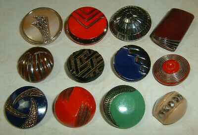 "Lot of 12 Enchanting Vintage Art Deco Era Glass Buttons 9/16""-1"""