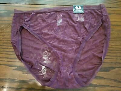 Nwt Wacoal Floral Jacquard Hi-Cut Brief Panties 871101 548 Wine Xl