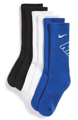 Nike Kids Blue White Black Performance Graphic Cushion Crew Socks 3 Pack Size S