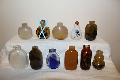 18/19th Century antique Chinese glass snuff bottles a group (10)