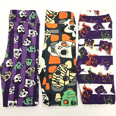3 LuLaRoe Girls L/XL Leggings NEW Halloween Print Lot Of 3 Fun Cute B102