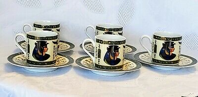 1942 Fathi Mahmoud Limoges Egyptian Porcelain Cups & Saucers~Set of 5~NEVER USED