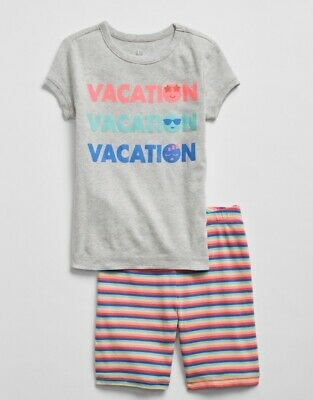 GAP KIDS Girls PJ SET Sz 6 Grey Heather VACATION Graphic Short Pj's / NWT$39.95