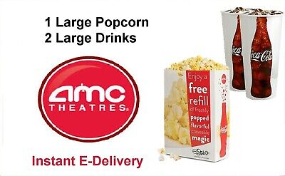 AMC Theatres: 1 Large POPCORN & 2 Large Drinks E-DELIVERY,  NO TICKETS