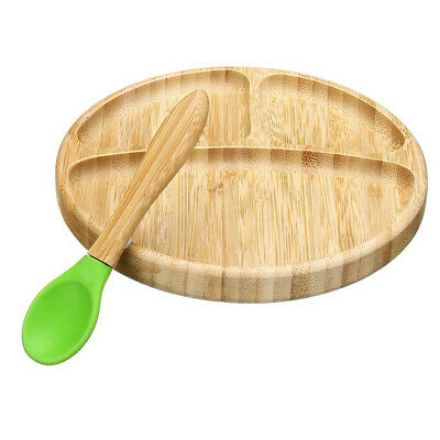 Suction Bowl Eco Friendly Dinner Baby Tableware Set Matching Spoon Bamboo Food